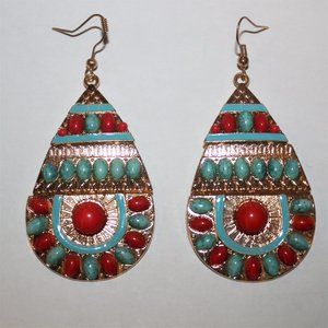 Vtg Faux Coral Turquoise Egyptian Earrings